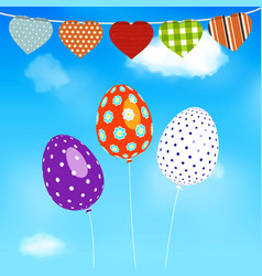 Easter eggs balloons flying over blue sky vector