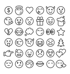 Emoji faces simple icons thin line symbols vector