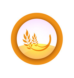farm emblem with ear of wheat on field background vector image