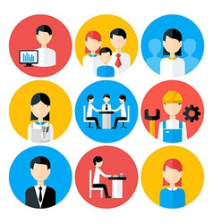 Flat stylized business people icons set vector image