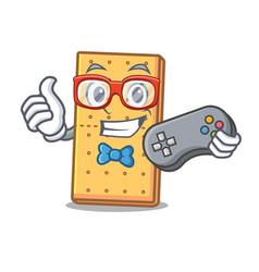 Gamer graham cookies mascot cartoon vector