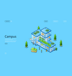 green campus isometric landing page people work vector image