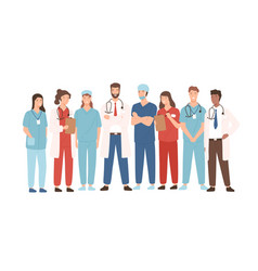 Group hospital medical staff standing together vector