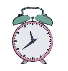 Hand drawing color pink alarm clock vector