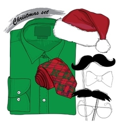 Hand drawn Christmas style doodle coordination vector