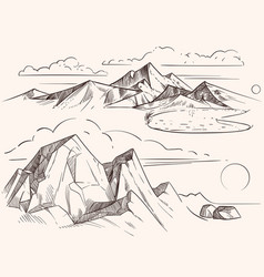 Hand sketched mountain landscapes with lake vector
