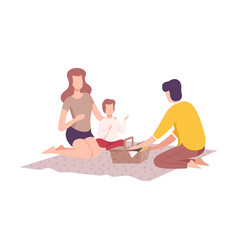 happy family having picnic in park father vector image