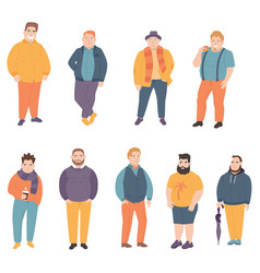 Happy fat man dressed in bright beautiful clothes vector