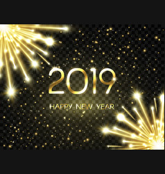 Happy new year 2019 background with bright golden vector