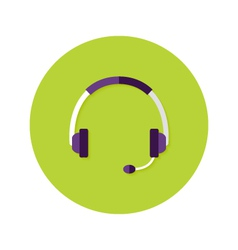Headset Callback Flat Circle Icon vector image