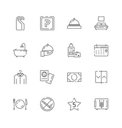 hotel related icons parking restaurant separated vector image