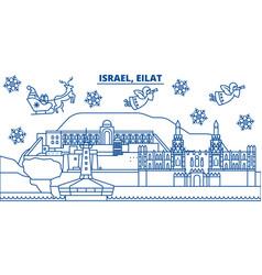 Israel eilat winter city skyline merry christmas vector