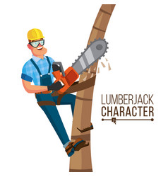 Lumberjack classic worker with hand vector