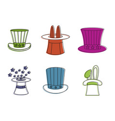 magic hat icon set color outline style vector image