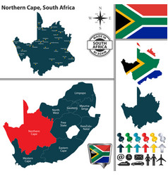 Map of northern cape south africa vector