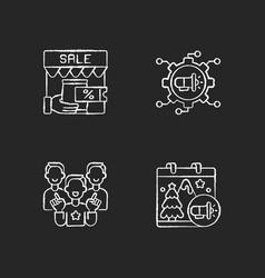 marketing strategies chalk white icons set on vector image