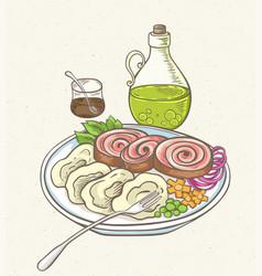 Meatloaf olive oil and garnish vector