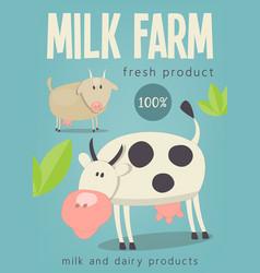 milk farm poster vector image