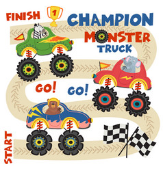 Monster trucks with animals on race track vector