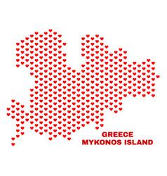 mykonos island map - mosaic of love hearts vector image
