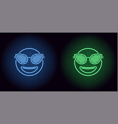 neon stylish emoji in blue and green color vector image