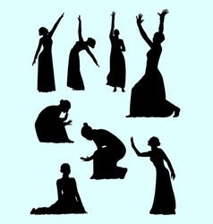 Opera and theater gesture silhouette 04 vector
