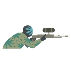 Paintball player flat icon vector image