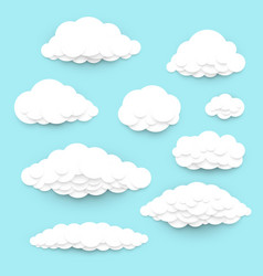 Paper cut art clouds set various clouds in a vector