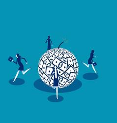 People running away from debt business finance vector