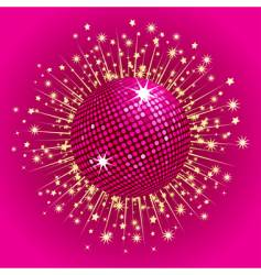 pink disco ball and stars vector image