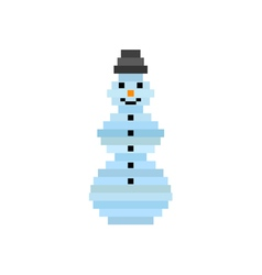 Pixel art snowman christmas greeting card vector