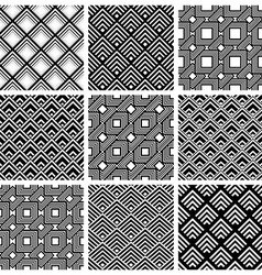 Rhombuses black and white geometric seamless vector image