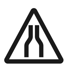 Road narrows ahead sign line icon vector