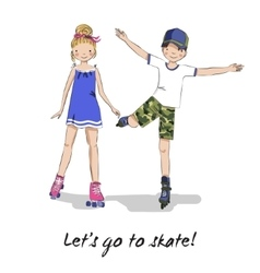 Roller skater Skating girl boy Cartoon couple vector image
