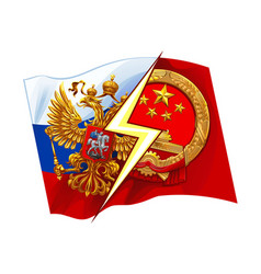 russia vs china on the background of national flag vector image