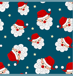 santa claus and star seamless on blue background vector image