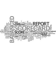 Scorecard word cloud concept vector
