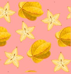 seamless carambola fruit vector image