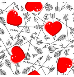 seamless pattern with arrows and hearts vector image