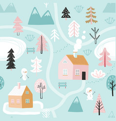 seamless pattern with cute winter trees childish vector image