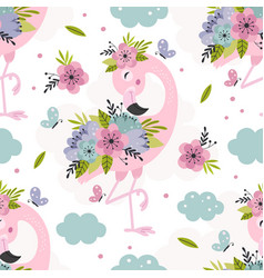 seamless pattern with floral pink flamingo vector image