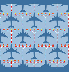 Seamless pattern with passenger airplanes and vector