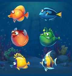 Set cartoon funny fish in underwater world vector