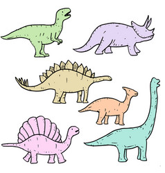 set hand drawn doodle dinosaur vector image