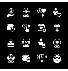 Set icons of charity and donate vector