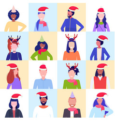 set mix race people wearing santa hats and horns vector image
