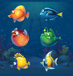 Set of cartoon funny fish in underwater world vector