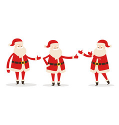 Set of isolated santa clauses showing way statue vector