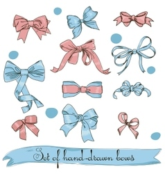 set of vintage pink and blue bows vector image