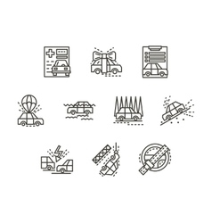 Simple line insurance cases icons vector image
